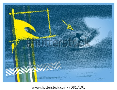 surf poster with halftone surfer background