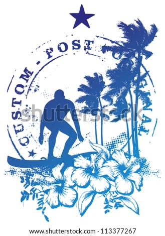 surf rider with post stamp - stock vector