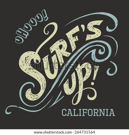 surf's up hand lettering  t