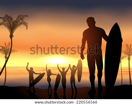 surf scene with beach party