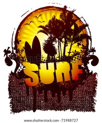 surf shield with banner and sunset
