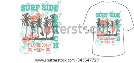 surf side beach vector print