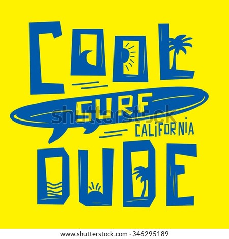 surf sport cool dude typography