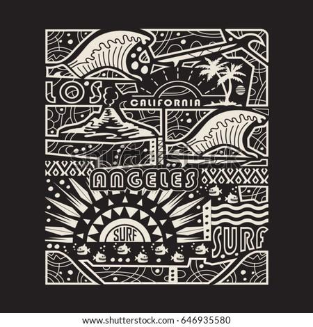 surf sport typography  tee
