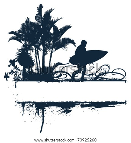 surf summer banner with flower palms and tables