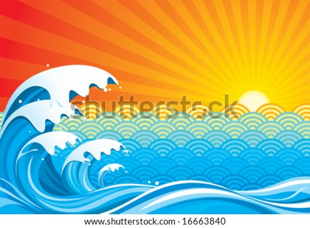 surf sun abstract  vector