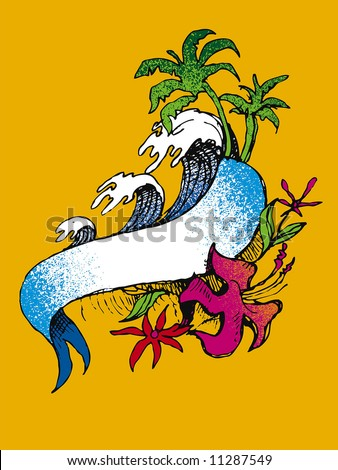 stock vector : surf tattoo
