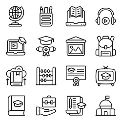 Surf through this wide range of icons of education offered in linear style. Each line icon in this pack is unique, different and creatively designed to make your projects more user friendly.