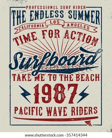 surf typography  t shirt