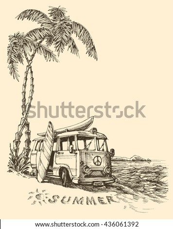 surf van on the beach vector