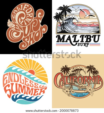 Surf Vector Graphic Set. A collection of vintage, modern, hand drawn and clean vector surf designs.