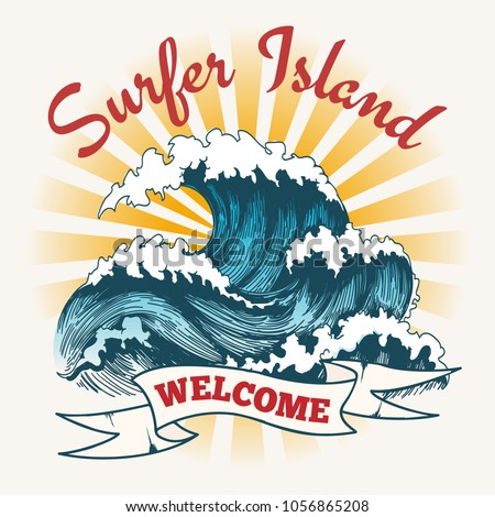 Surf wave poster. Surfer island vintage logo, painting ocean seascape with big waves vector illustration