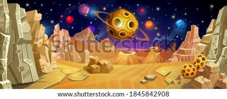 Surface of the planet with a sandy and rocky landscape. View from an asteroid to space.