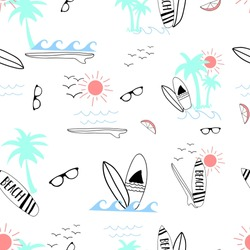 surfboard summer pattern vector.