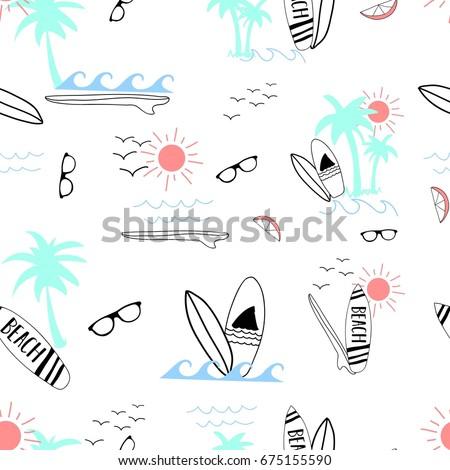 surfboard summer pattern vector