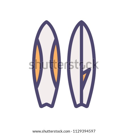 Surfboard thin line icon. Surfing equipment vector illustration. Summer, beach, sea, vacations, leisure, sports and leisure time concepts.