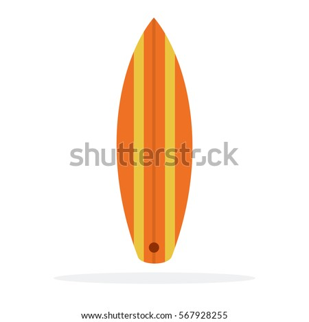 Surfboard vector flat material design object. Isolated illustration on white background.