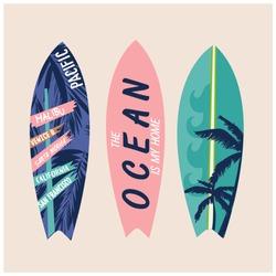 Surfboard vector set.Summer t-shirt print.