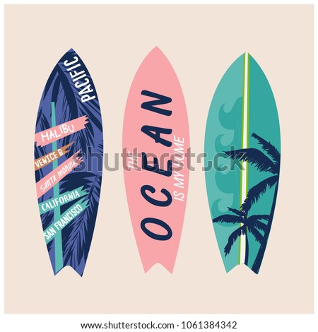 surfboard vector setsummer t