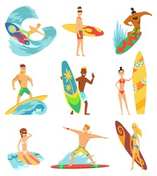 Surfboarders riding on waves set, surfer men with surfboards in different poses vector Illustrations.
