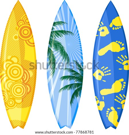 Surfboards isolated on white. Vector illustration.