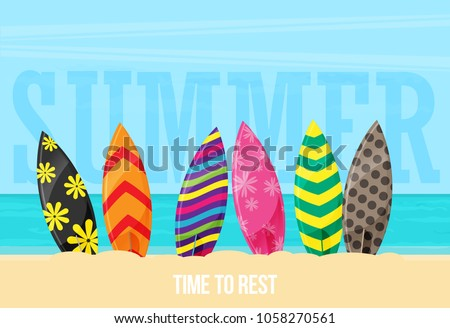 surfboards on the beach flat