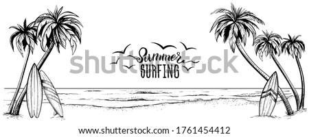 Surfboards on the beach with palm trees, vector illustration. Panoramic sea landscape in sketchy style. Hand drawn coast banner.