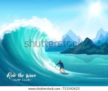 surfer and big ocean wave on