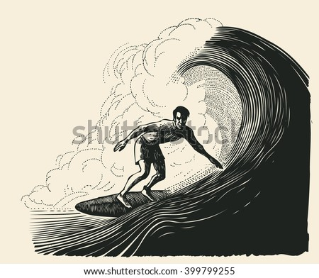 surfer and big wave engraving