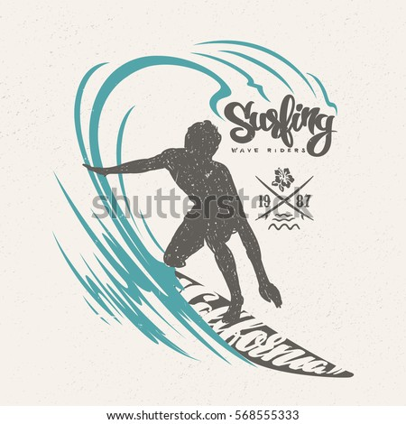 surfer and big wave t shirt