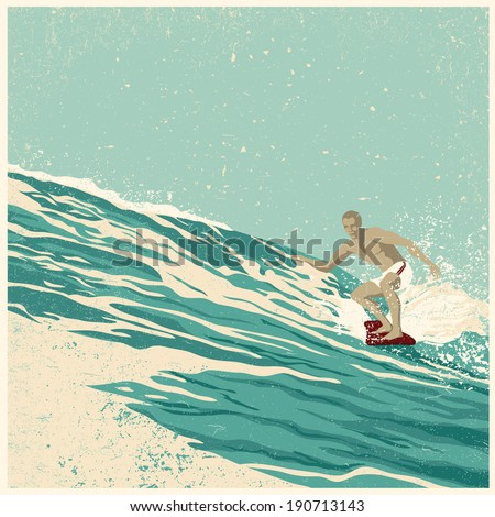 Surfer and big wave. vector illustration. grunge effect in separate layer.