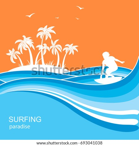 surfer and sea waves background