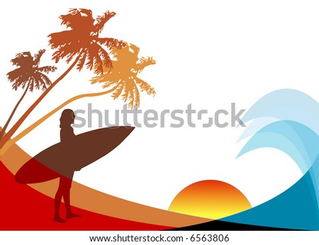 Surfer by the water