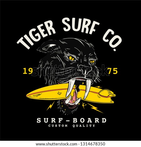 surfer cat illustration for t-shirt print