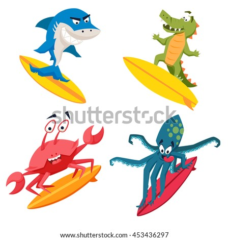 surfer cool monsters surfing