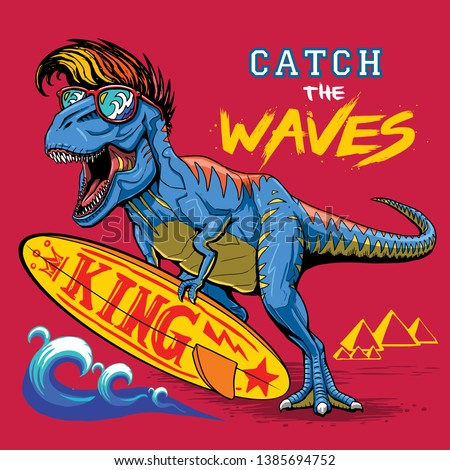 surfer dinosaur illustration slogan tee graphic print design
