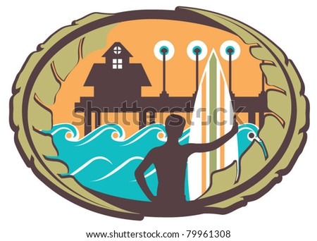 surfer emblem with pier  waves