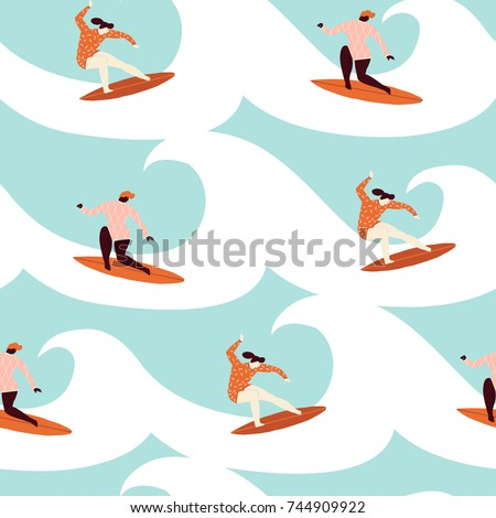surfer girl surfing in the