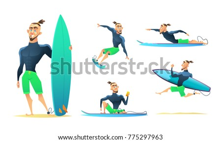 surfer in different dynamic