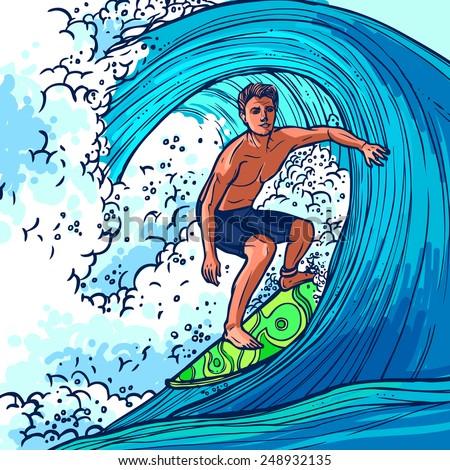 surfer man on surfboard on wave