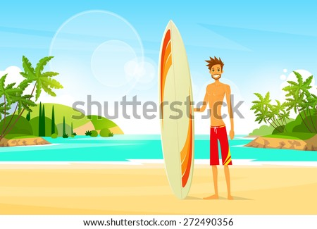surfer man with surfing board