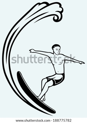 Surfer on Ocean Wave. Isolated on blue background