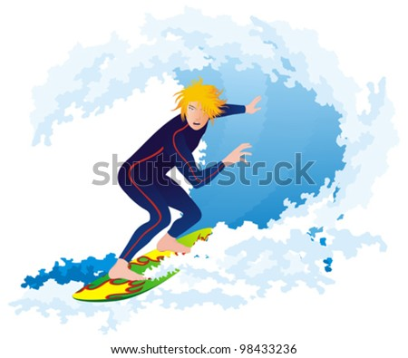 Surfer on the big wave, isolated on white
