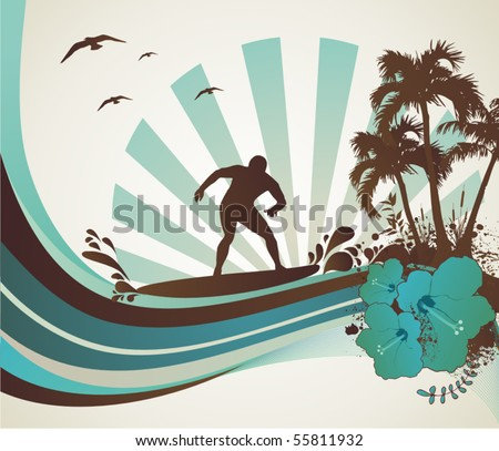 surfer on the sea, vector illustration
