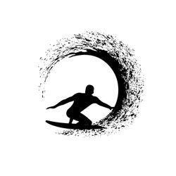 surfer on the wave vector illustration