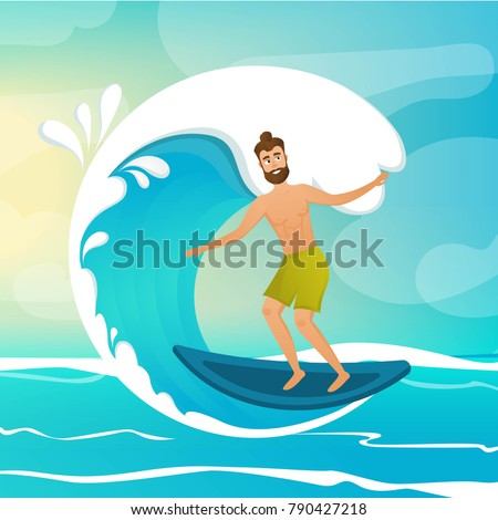 Surfer on wave vector illustration. Cartoon character. Healthy and fitness.  Surfing. EPS 10 vector