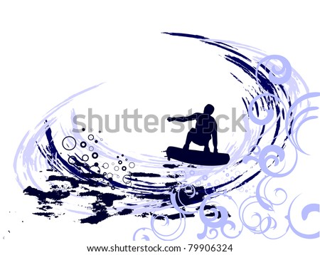 surfer on waves - vector - stock vector