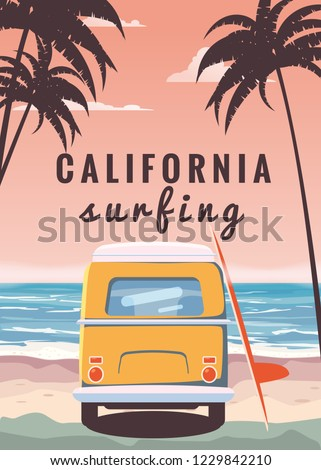 Surfer orange bus, van, camper with surfboard on the tropical beach. Poster California palm trees and blue ocean behind. Retro illustration of modern design, isolated, vector