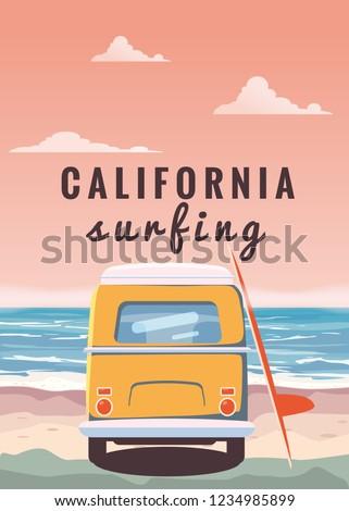 surfer orange bus  van  camper