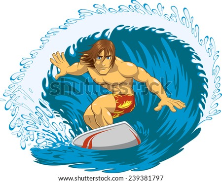 Stock Photo Surfer rides a blackboard during a storm, vector illustration